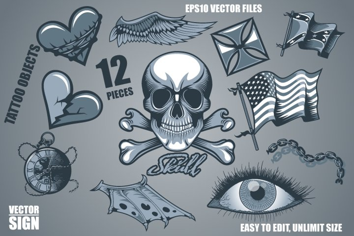 12 tattoo objects