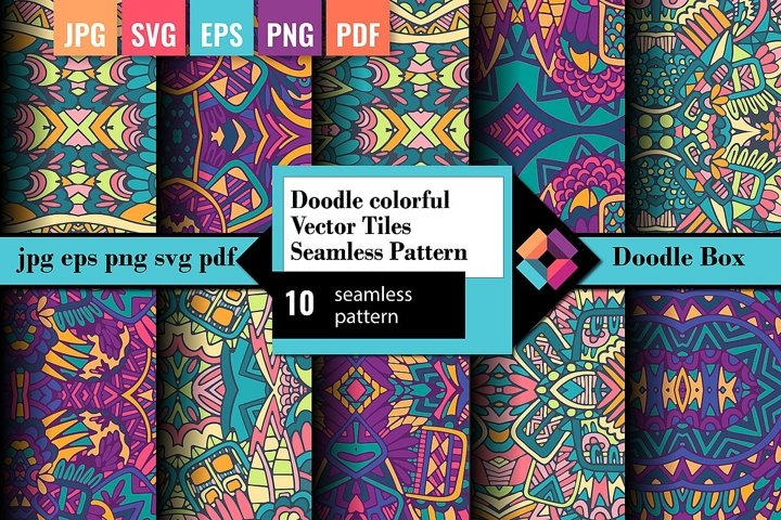 Doodle colorful Vector tiles seamless pattern