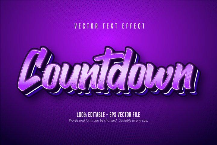 Countdown text, purple color pop art style text effect