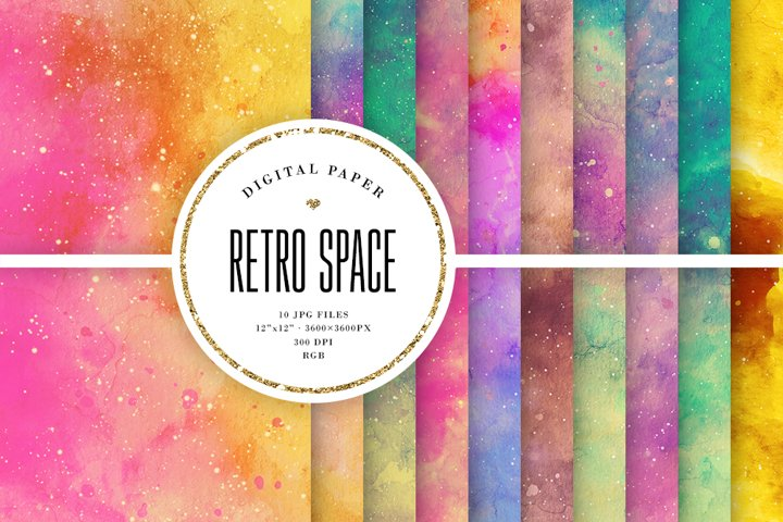 Retro Space Backgrounds - Colorful Watercolor Textures