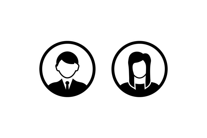 Male and female user icon. Avatar man and women