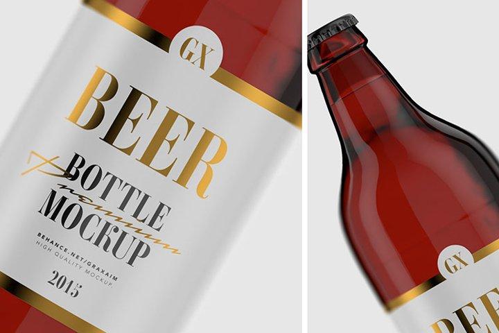 Beer Bottle - Amber Glass - Mockup