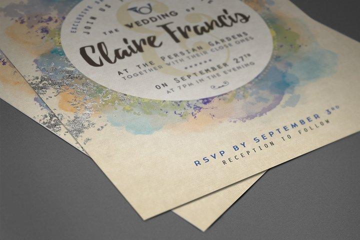Pure Silver Watercolor Wedding Card example 1