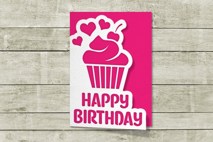 Layered Papercut Birthday Card with Cupcake SVG File