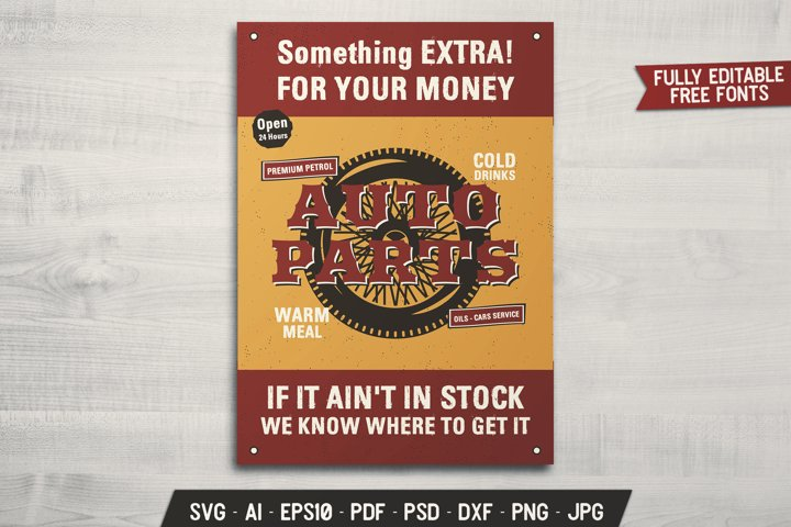 Mechanic Auto Parts Flyer SVG Template Adventure Card