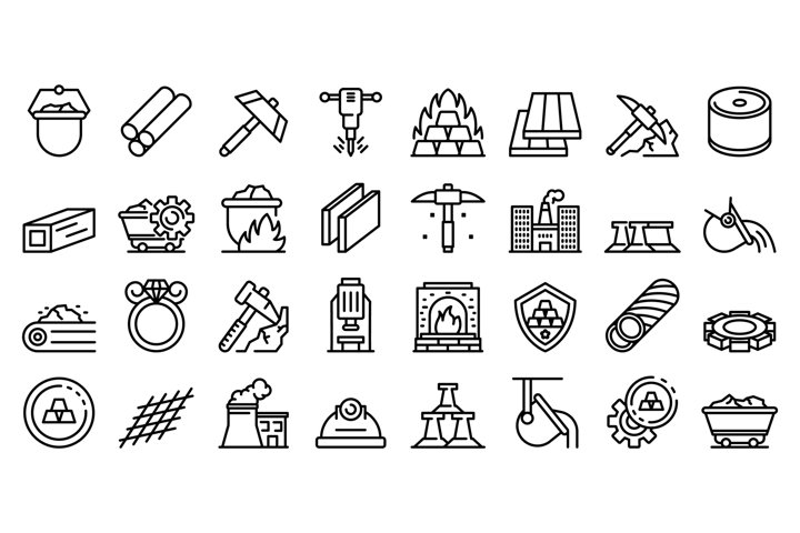 Metallurgy icons set, outline style