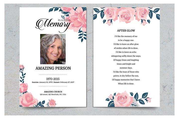 Pink Flower Funeral Prayer Card Template