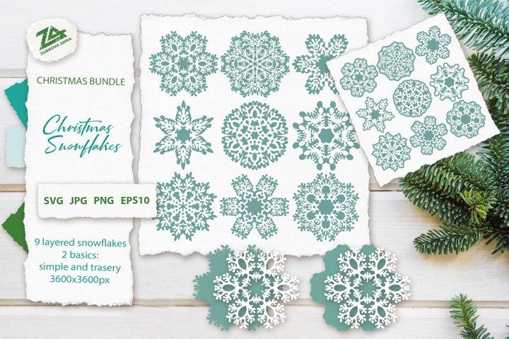 Christmas Snowflakes SVG Cut Files Bundle