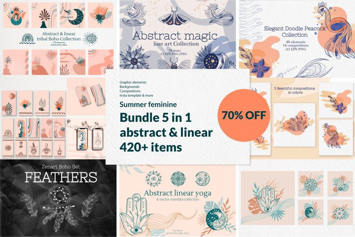 Summer Feminine abstract & linear Bundle 70 OFF. 5 in 1