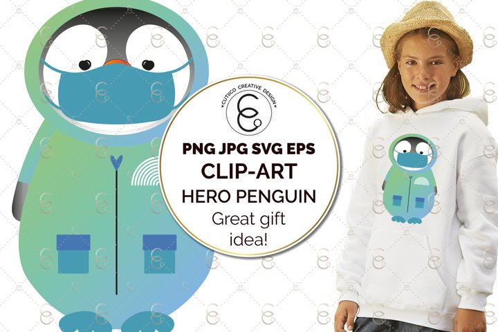 Hero Percy Penguin Clip Art SVG PNG EPS Mask