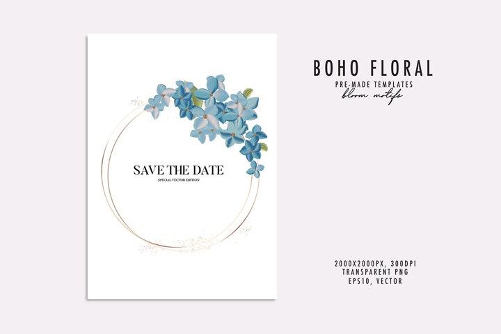 Hortensia flower watercolor plant vector wedding invitation