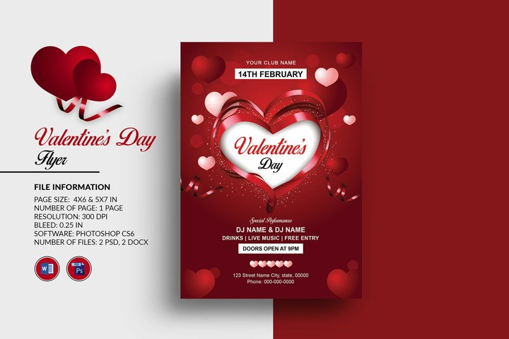 Valentines Day Party Flyer, Ms Word and Photoshop Template