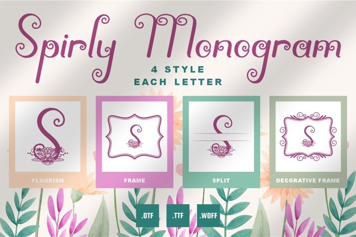 Spirly Monogram Font - 4 Style Monogram