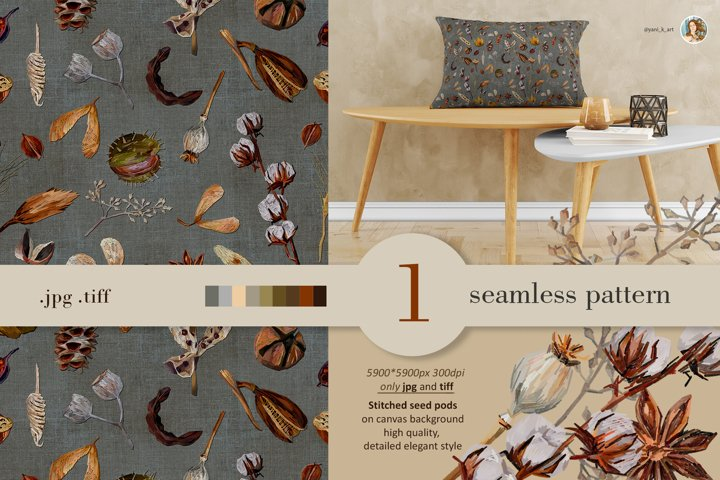 Fall seamless pattern JPG, seed pods digital paper for print