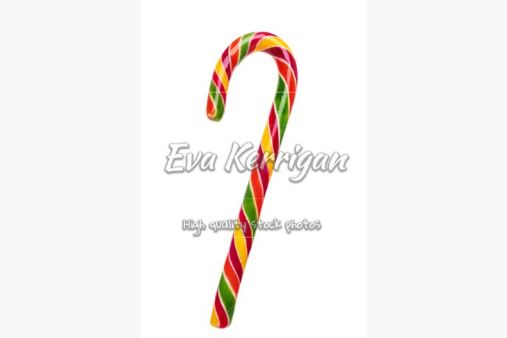 Colorful bright curled hook candy, Christmas sweet lollipop.