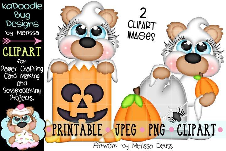 Ghost Pumpkin Bears Clipart - 2 JPEG PNG Print Then Clipart