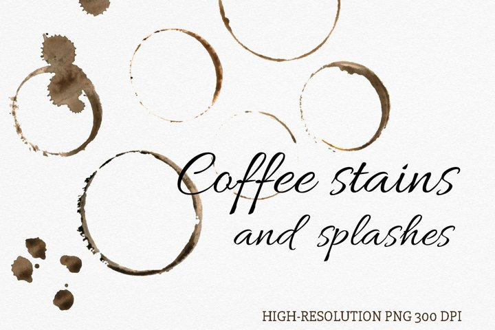Watercolor coffee stains and splashes