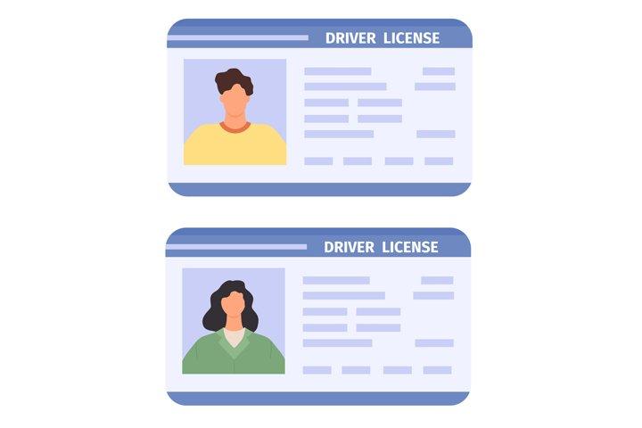 Drivers id card. Woman and man driving licences with photo.