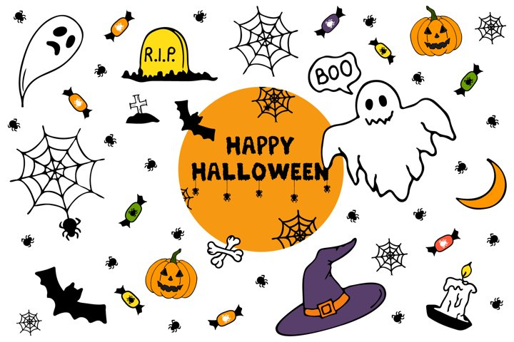 Halloween clipart and digital papers, seamless pattern