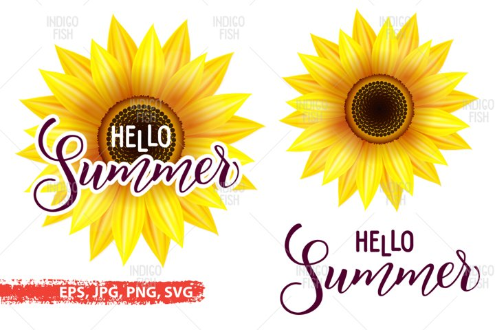 Hello Summer and Sunflower SVG