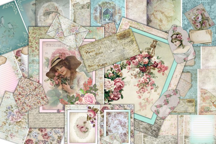Junk Journal Kit 24 pages with ephemera, collage and tags CU