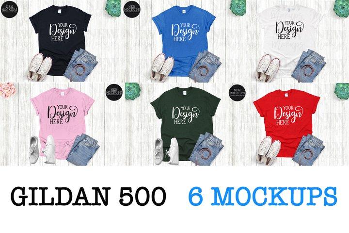 Bundle 6 Mockups Gildan 500 unisex T-Shirt Mockup