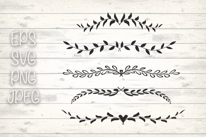 Dividers Svg, Hand drawn Leaves, Leaf Dividers svg.