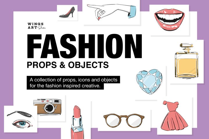 Illustrated Fashion Make-up Props and Objects