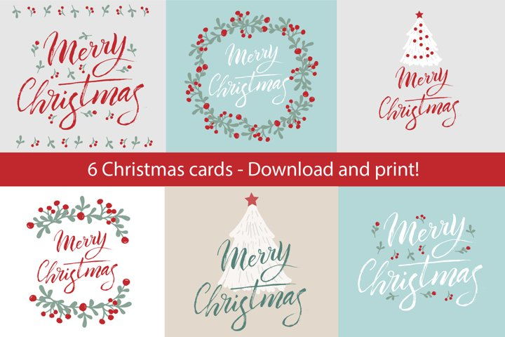 Christmas cards set printable design
