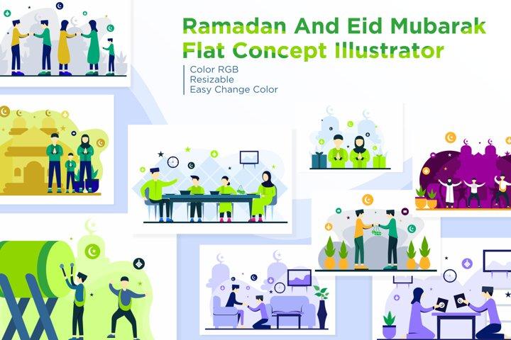 Ramadhan or Eid Mubarak Flat Concept