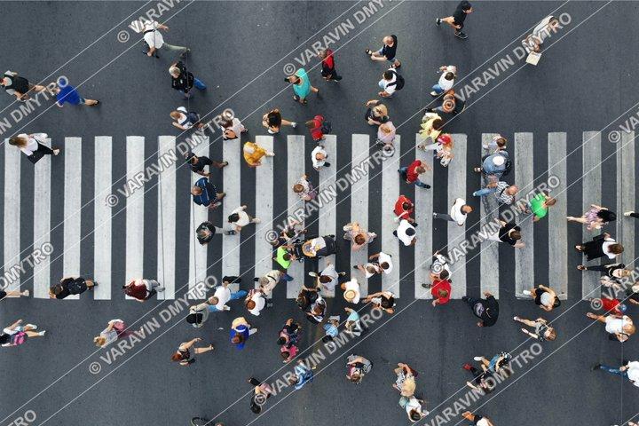 Pedestrians People Crowd Top View