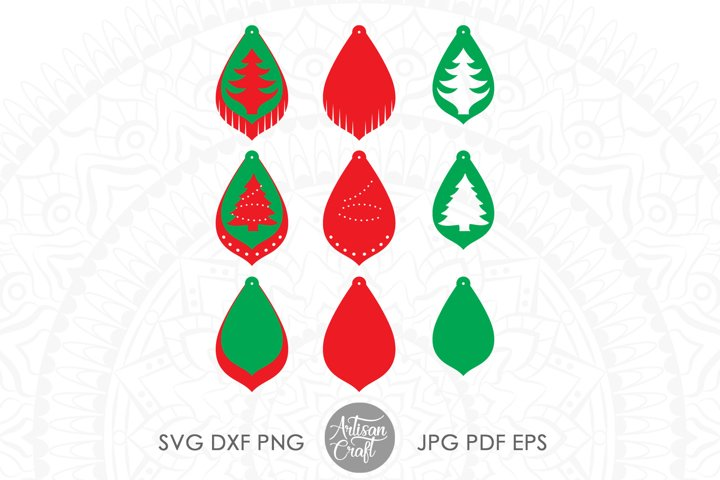 Earrings SVG, Christmas tree earring SVG