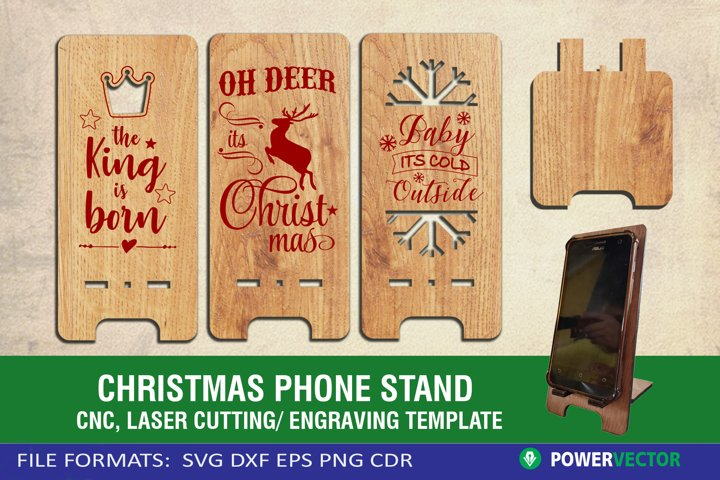 Phone Stand Pattern| Christmas Laser, CNC Files for Crafters
