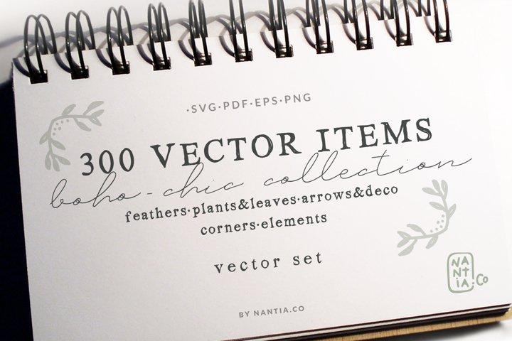 300 Boho-Chic Vectors Mega Pack