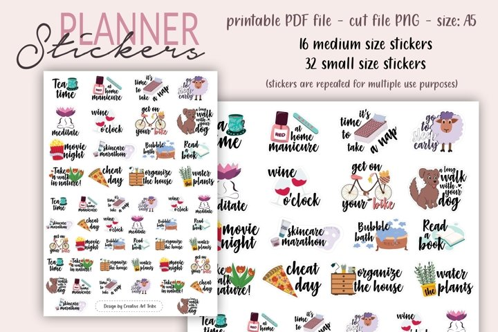 Planner Stickers - Planning stickers, Printable PDF, PNG cut