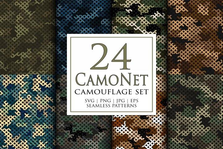 24 Vector digital camouflage masking seamless pattern set