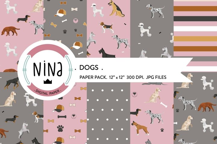 Dogs digital paper pack, Wrapping paper dogs, dog patterns
