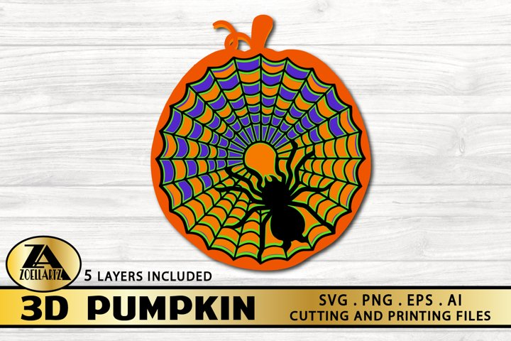 3D PUMPKIN SVG PNG EPS DXF JPG Cutting and Printing Files