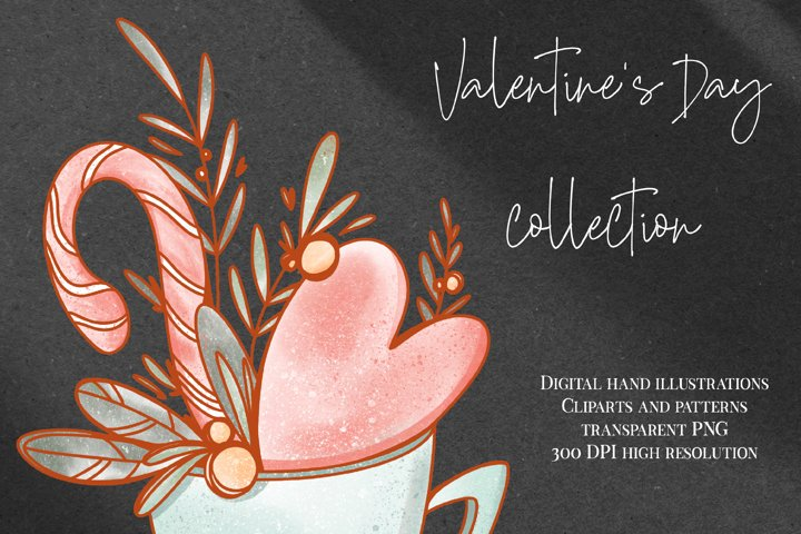 Valentines day clipart png elements set