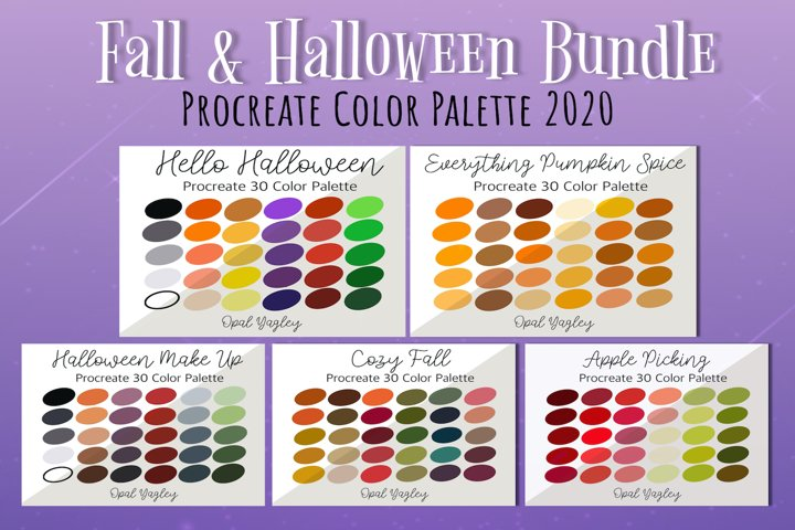 Fall Halloween Bundle / Procreate Color Palette / Swatches