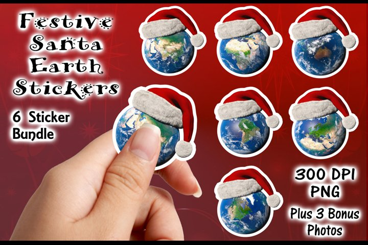 Stickers Bundle - 6 Festive Santa Earths and bonus photos