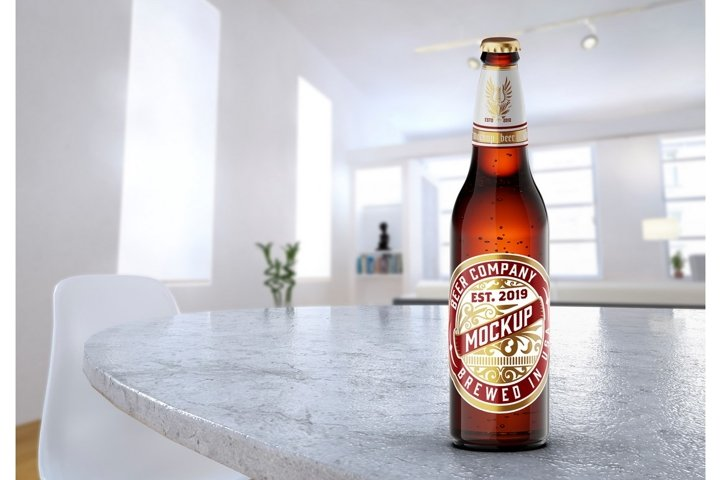 Beer Bottle Mockup with room scene in two colors.