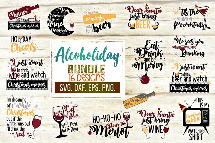 Christmas Wine & Beer Bundle. Xmas Drinking Designs