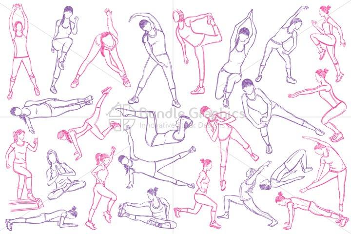 Female Fitness Figures - Vector Graphic Set