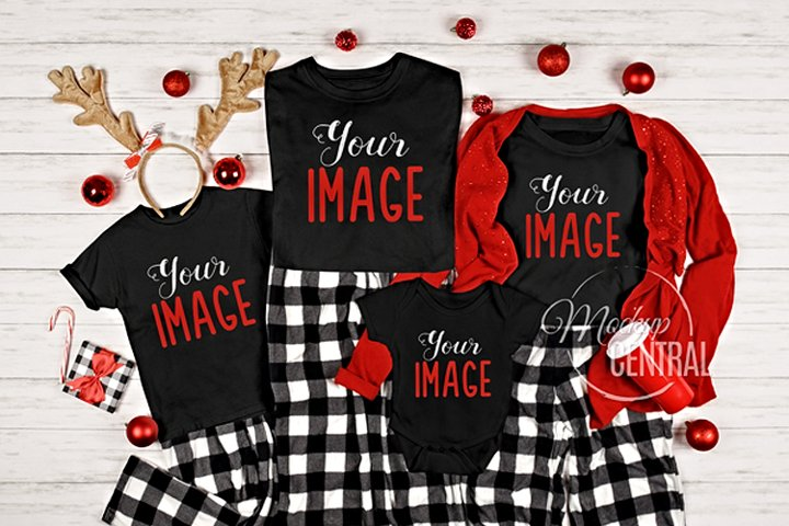 Matching Family Black Christmas T-Shirt Mockup Photo