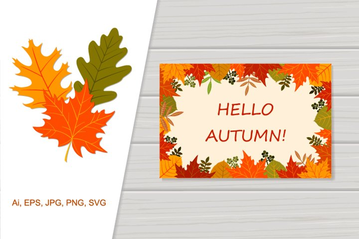 Illustration of frame autumn leaves with place for your text