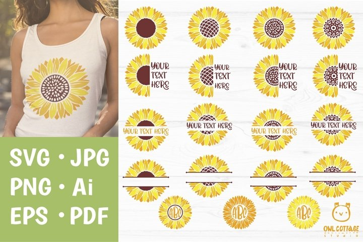 Sunflower Monograms svg, Sunflowers svg bundle