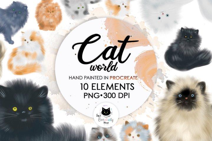 Cat World Sublimation Designs PNG | Fluffy Cat Clipart Set