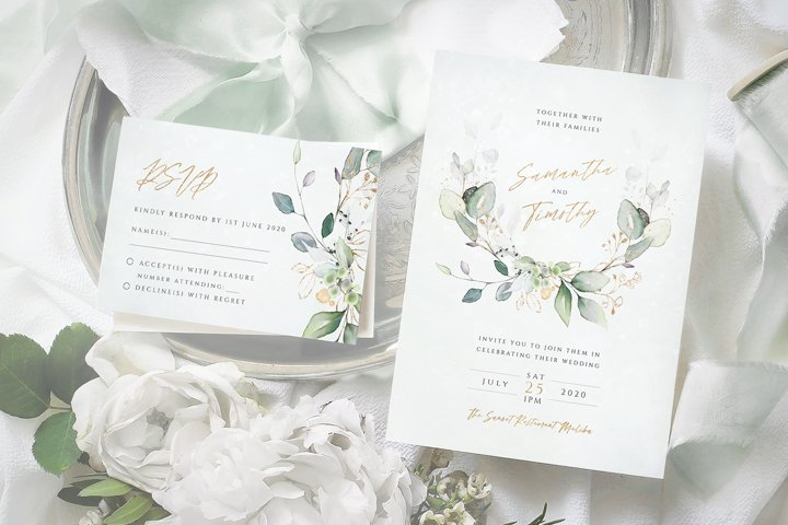 Eucalyptus Laurel Wedding Invitation