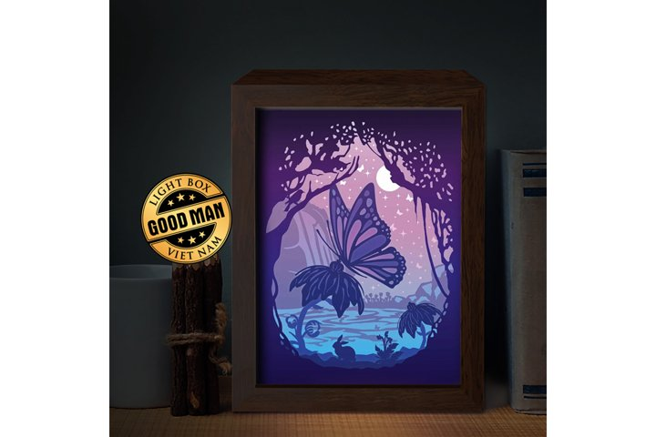 Butterfly 1 3D Paper Cutting Light Box - Shadow Box